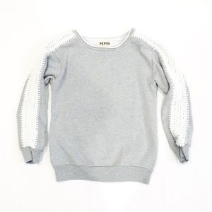 Anthro Pepin Jillian Gray Pullover Sweatshirt
